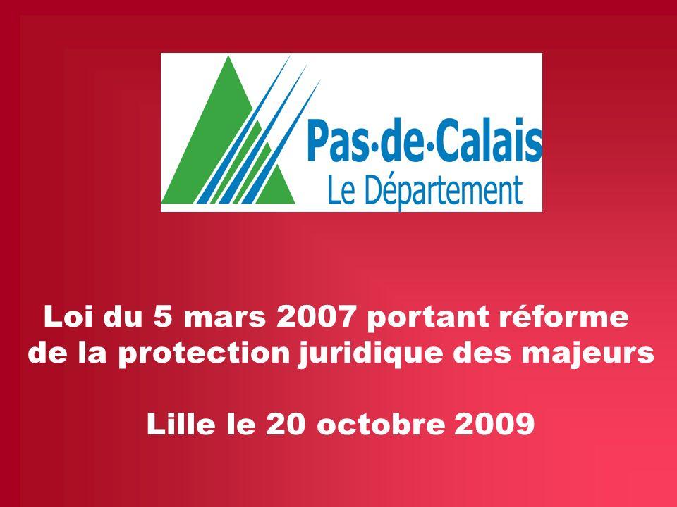 La loi du 5 mars 2007 portant réforme de la protection juridique des majeurs 14 La mise en œuvre de la MASP dans le département du Pas-de-Calais Le Département du Pas de Calais est organisé en 9 territoires au sein desquels une Maison du Département solidarité est implantée( MDS).
