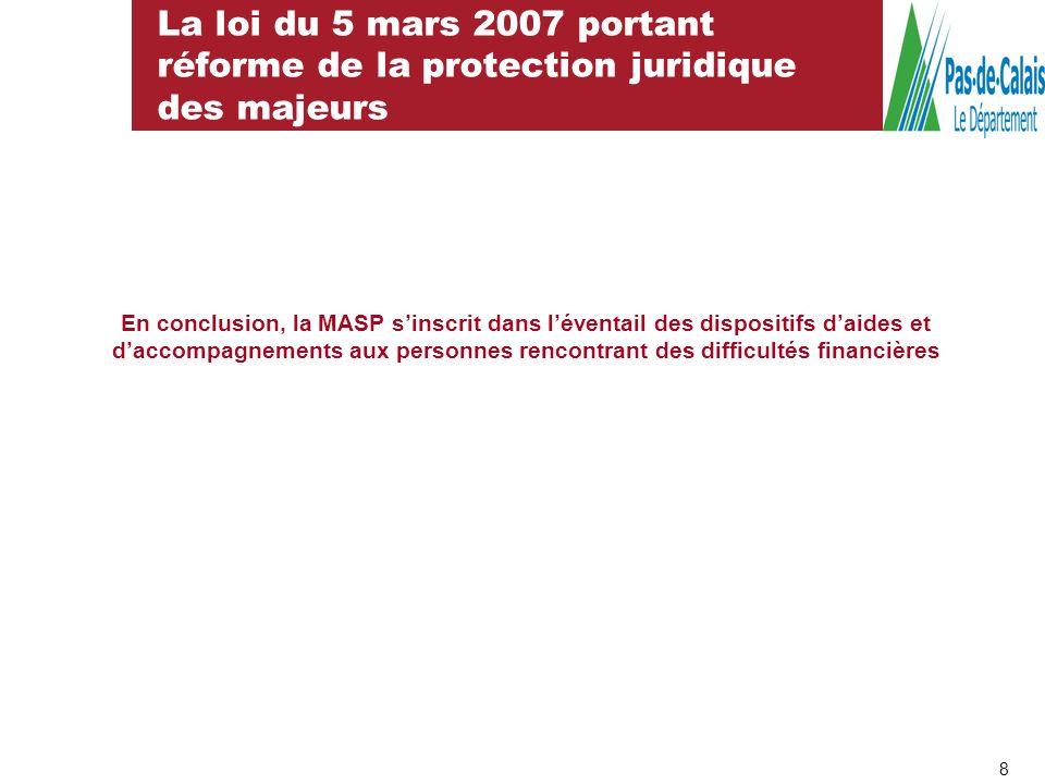 La loi du 5 mars 2007 portant réforme de la protection juridique des majeurs 8 En conclusion, la MASP sinscrit dans léventail des dispositifs daides e