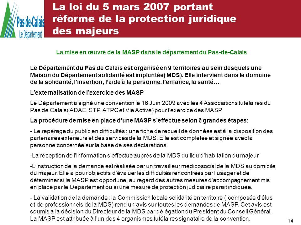 La loi du 5 mars 2007 portant réforme de la protection juridique des majeurs 14 La mise en œuvre de la MASP dans le département du Pas-de-Calais Le Dé