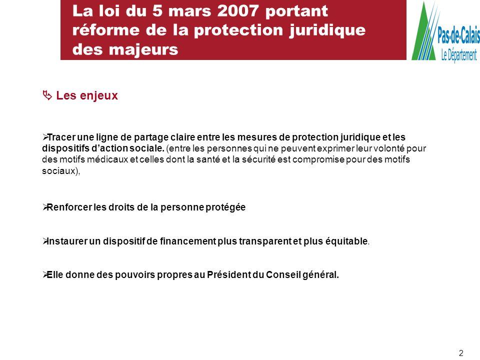 La loi du 5 mars 2007 portant réforme de la protection juridique des majeurs Les enjeux Tracer une ligne de partage claire entre les mesures de protec