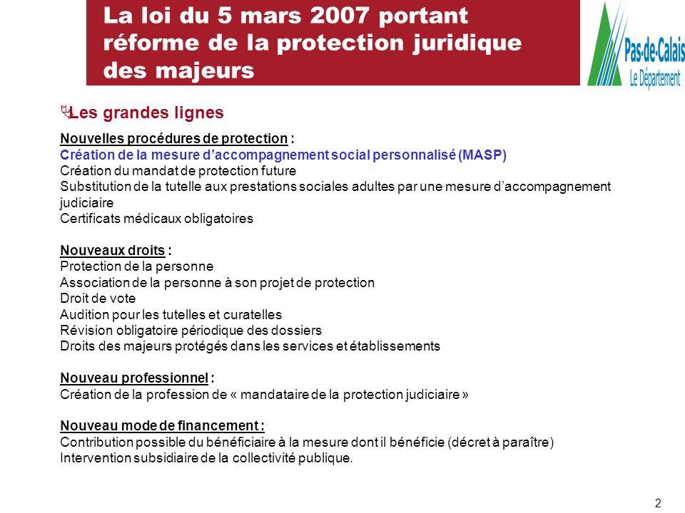 La loi du 5 mars 2007 portant réforme de la protection juridique des majeurs Les grandes lignes Nouvelles procédures de protection : Création de la me