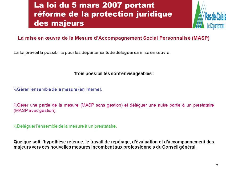 La loi du 5 mars 2007 portant réforme de la protection juridique des majeurs 8 En conclusion, la MASP sinscrit dans léventail des dispositifs daides et daccompagnements aux personnes rencontrant des difficultés financières
