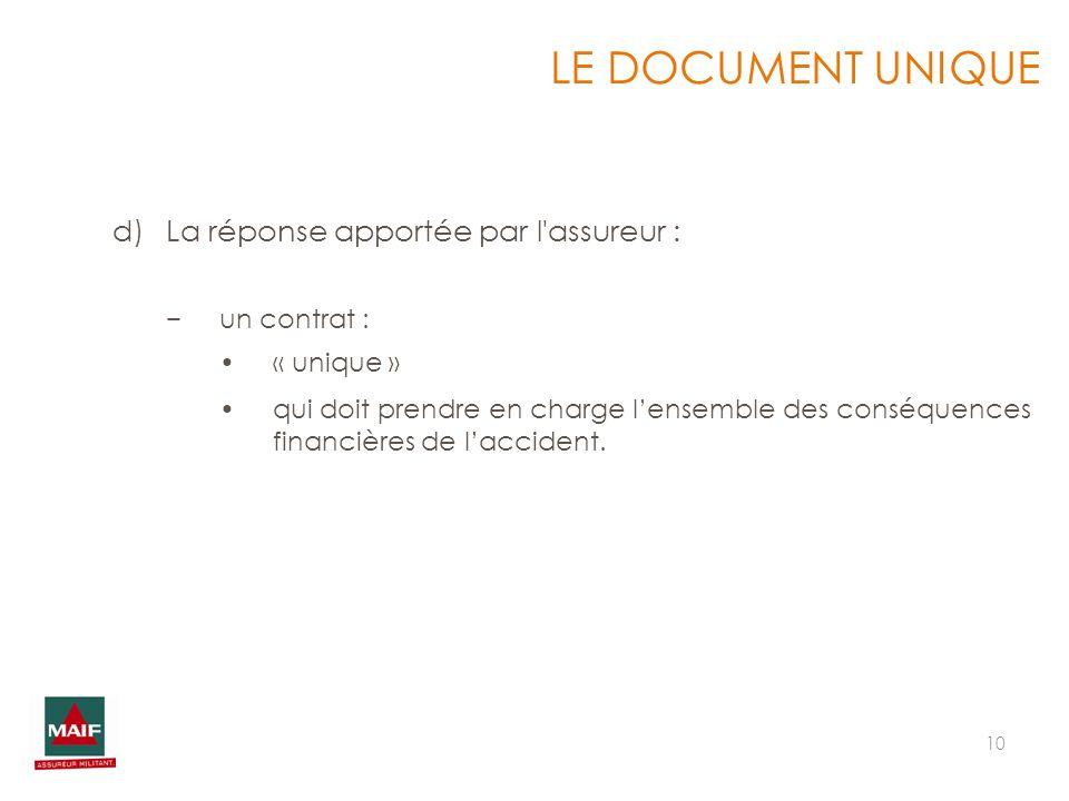 10 LE DOCUMENT UNIQUE d)La réponse apportée par l'assureur : un contrat : « unique » qui doit prendre en charge lensemble des conséquences financières
