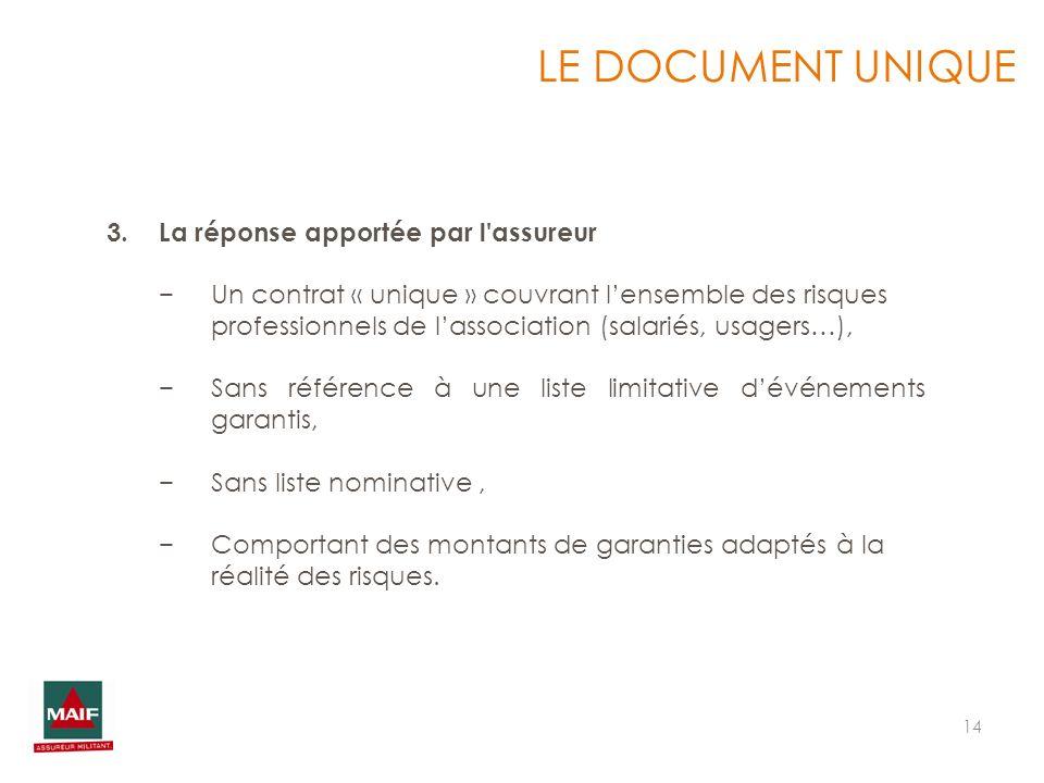 14 LE DOCUMENT UNIQUE 3.La réponse apportée par l'assureur Un contrat « unique » couvrant lensemble des risques professionnels de lassociation (salari