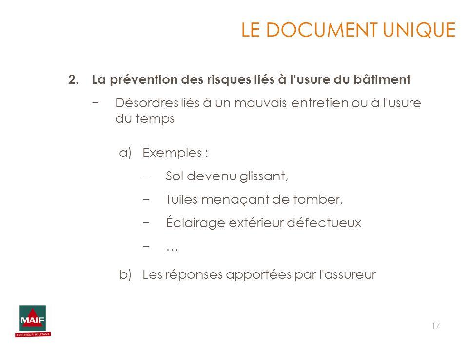 17 LE DOCUMENT UNIQUE 2.La prévention des risques liés à l'usure du bâtiment Désordres liés à un mauvais entretien ou à l'usure du temps a)Exemples :