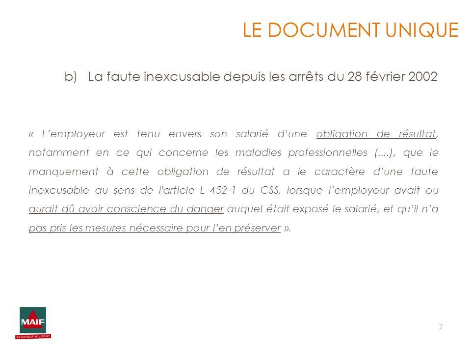 7 « Lemployeur est tenu envers son salarié dune obligation de résultat, notamment en ce qui concerne les maladies professionnelles (....), que le manq