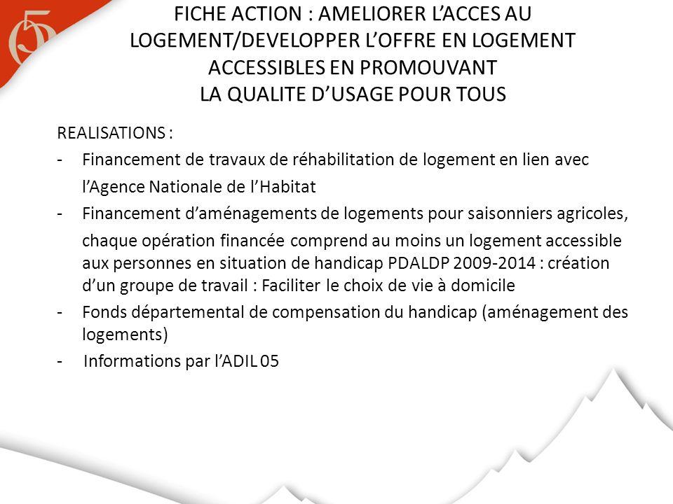 REALISATIONS : -Financement de travaux de réhabilitation de logement en lien avec lAgence Nationale de lHabitat -Financement daménagements de logement