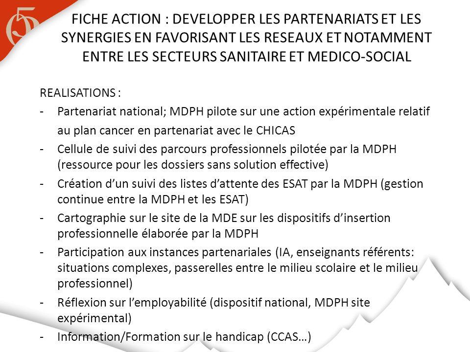 REALISATIONS : -Partenariat national; MDPH pilote sur une action expérimentale relatif au plan cancer en partenariat avec le CHICAS - Cellule de suivi des parcours professionnels pilotée par la MDPH (ressource pour les dossiers sans solution effective) -Création dun suivi des listes dattente des ESAT par la MDPH (gestion continue entre la MDPH et les ESAT) -Cartographie sur le site de la MDE sur les dispositifs dinsertion professionnelle élaborée par la MDPH -Participation aux instances partenariales (IA, enseignants référents: situations complexes, passerelles entre le milieu scolaire et le milieu professionnel) -Réflexion sur lemployabilité (dispositif national, MDPH site expérimental) -Information/Formation sur le handicap (CCAS…) FICHE ACTION : DEVELOPPER LES PARTENARIATS ET LES SYNERGIES EN FAVORISANT LES RESEAUX ET NOTAMMENT ENTRE LES SECTEURS SANITAIRE ET MEDICO-SOCIAL