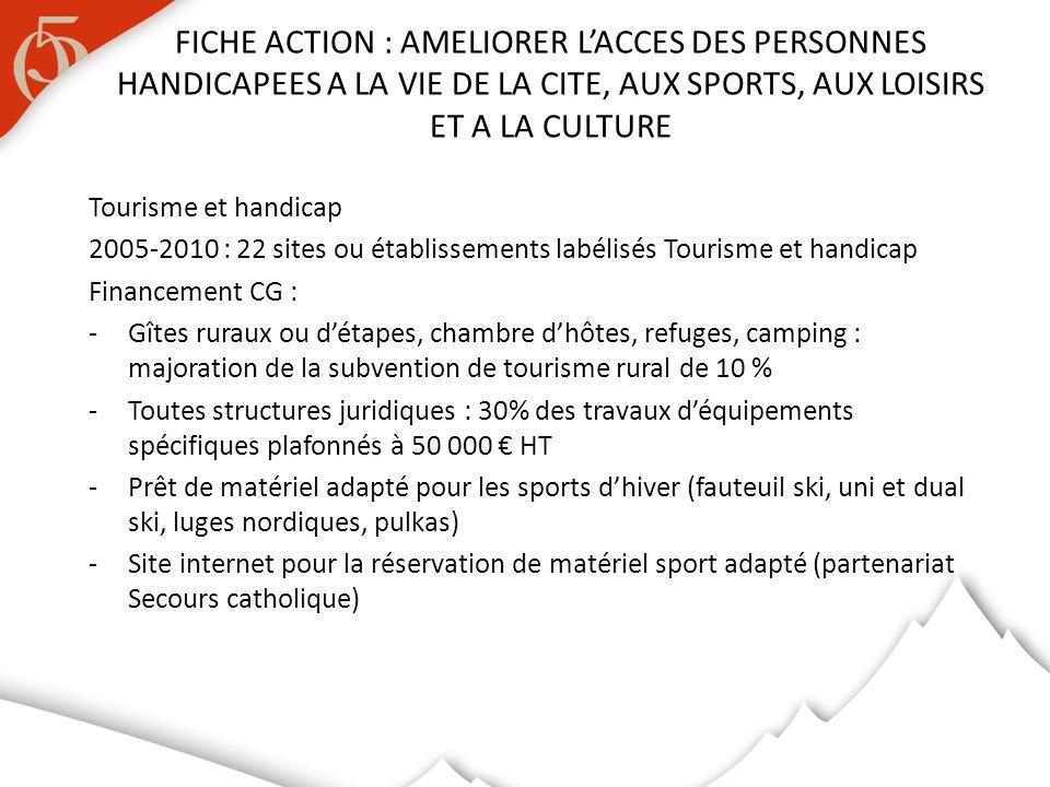 Tourisme et handicap 2005-2010 : 22 sites ou établissements labélisés Tourisme et handicap Financement CG : -Gîtes ruraux ou détapes, chambre dhôtes,
