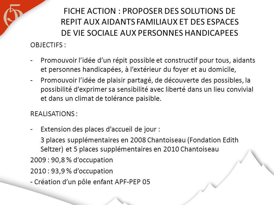 OBJECTIFS : -Promouvoir lidée dun répit possible et constructif pour tous, aidants et personnes handicapées, à lextérieur du foyer et au domicile, -Pr