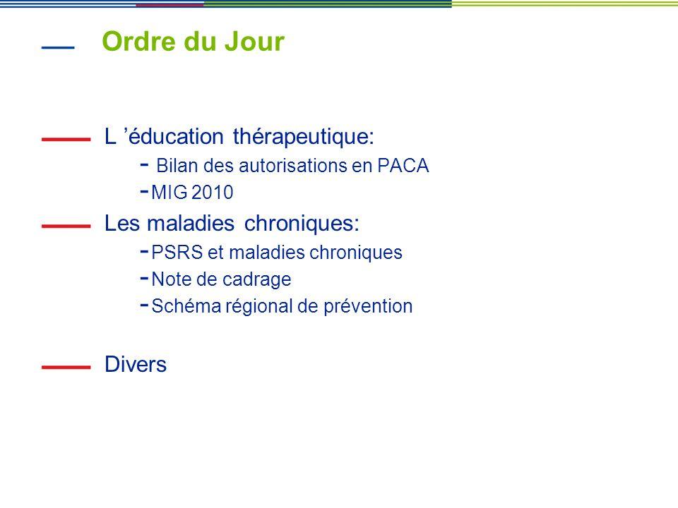 Ordre du Jour L éducation thérapeutique: - Bilan des autorisations en PACA - MIG 2010 Les maladies chroniques: - PSRS et maladies chroniques - Note de