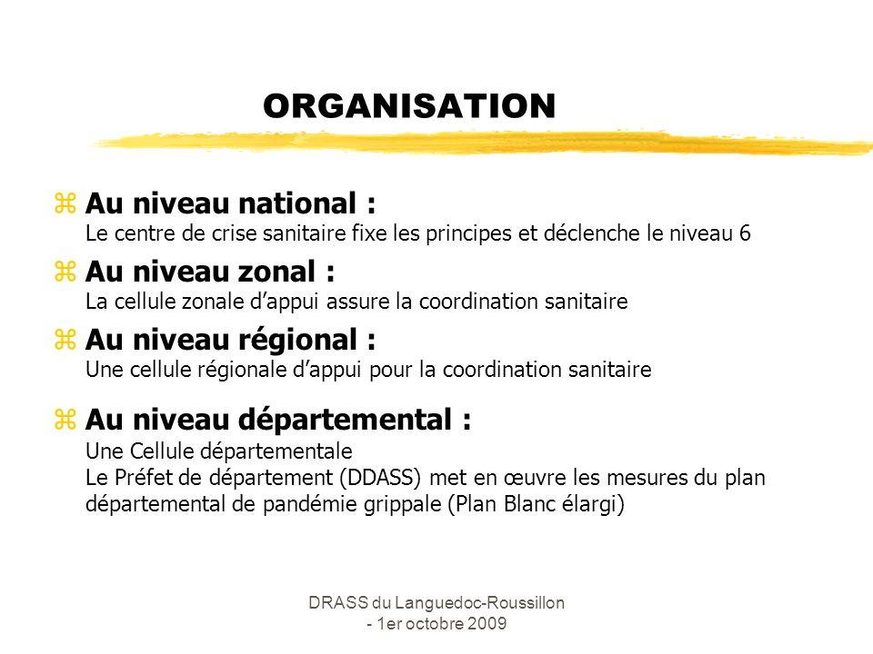 DRASS du Languedoc-Roussillon - 1er octobre 2009 PRINCIPES DIRECTEURS ESMS - SSIAD zPrise en charge des malades par le médecin traitant : diagnostic et prescription du traitement zIsolement des malades, mesures dhygiène, limitation des visites, port du masque : FFP2 pour les personnels en contact et chirurgical pour les malades (principe de non fermeture) zSignalement à la DDASS des cas groupés (3 sur 1 semaine) zHospitalisation seulement en cas de complication grave