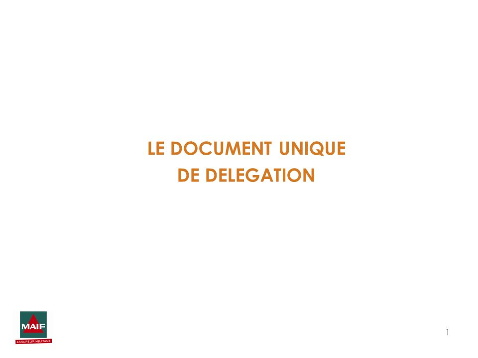 1 LE DOCUMENT UNIQUE DE DELEGATION