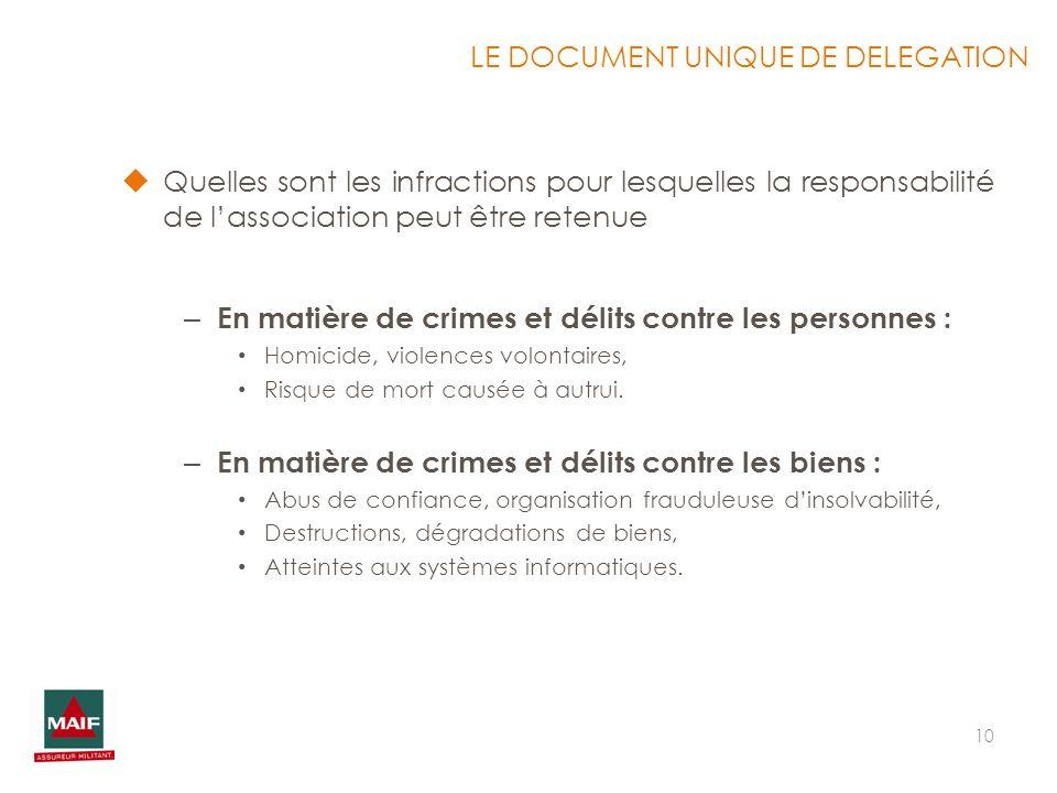 10 Quelles sont les infractions pour lesquelles la responsabilité de lassociation peut être retenue – En matière de crimes et délits contre les person