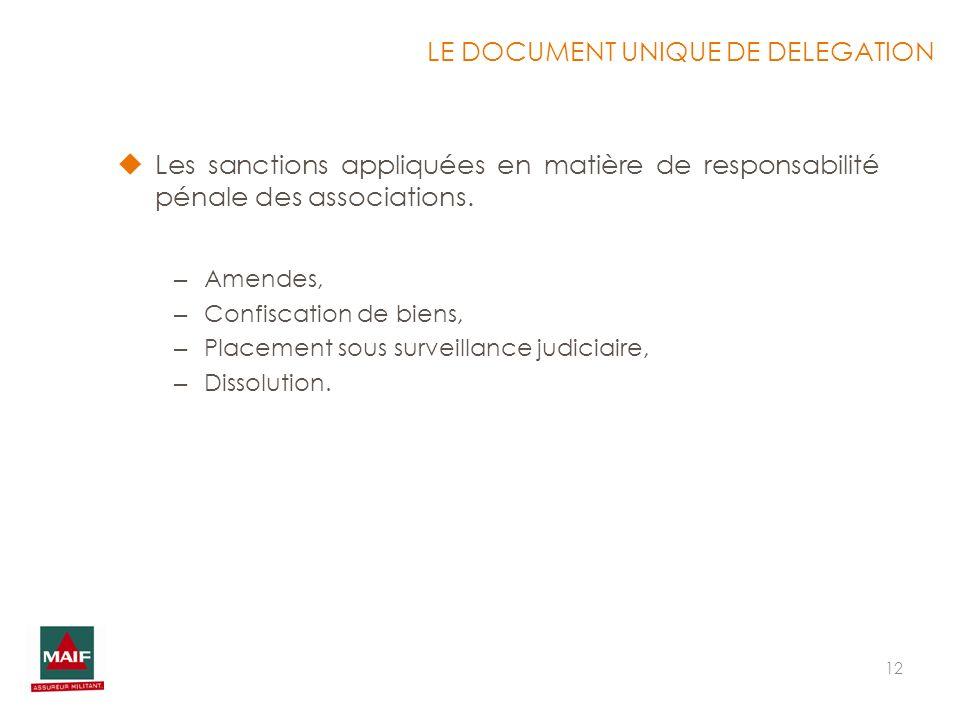 12 Les sanctions appliquées en matière de responsabilité pénale des associations. – Amendes, – Confiscation de biens, – Placement sous surveillance ju