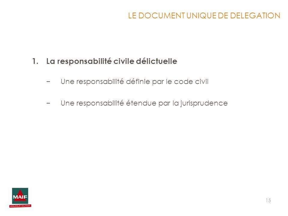 15 LE DOCUMENT UNIQUE DE DELEGATION 1.La responsabilité civile délictuelle Une responsabilité définie par le code civil Une responsabilité étendue par