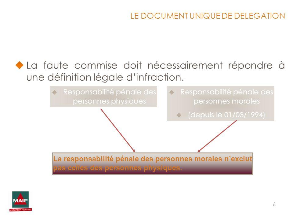 6 La faute commise doit nécessairement répondre à une définition légale dinfraction. Responsabilité pénale des personnes physiques Responsabilité péna