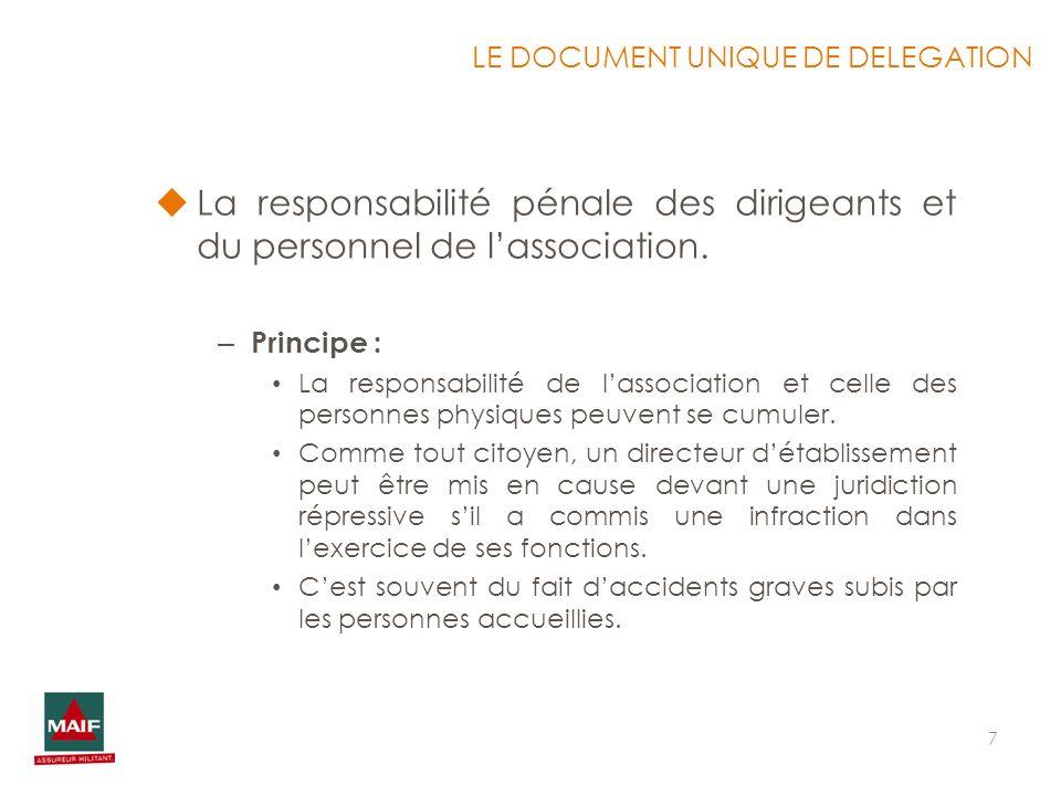 7 La responsabilité pénale des dirigeants et du personnel de lassociation. – Principe : La responsabilité de lassociation et celle des personnes physi