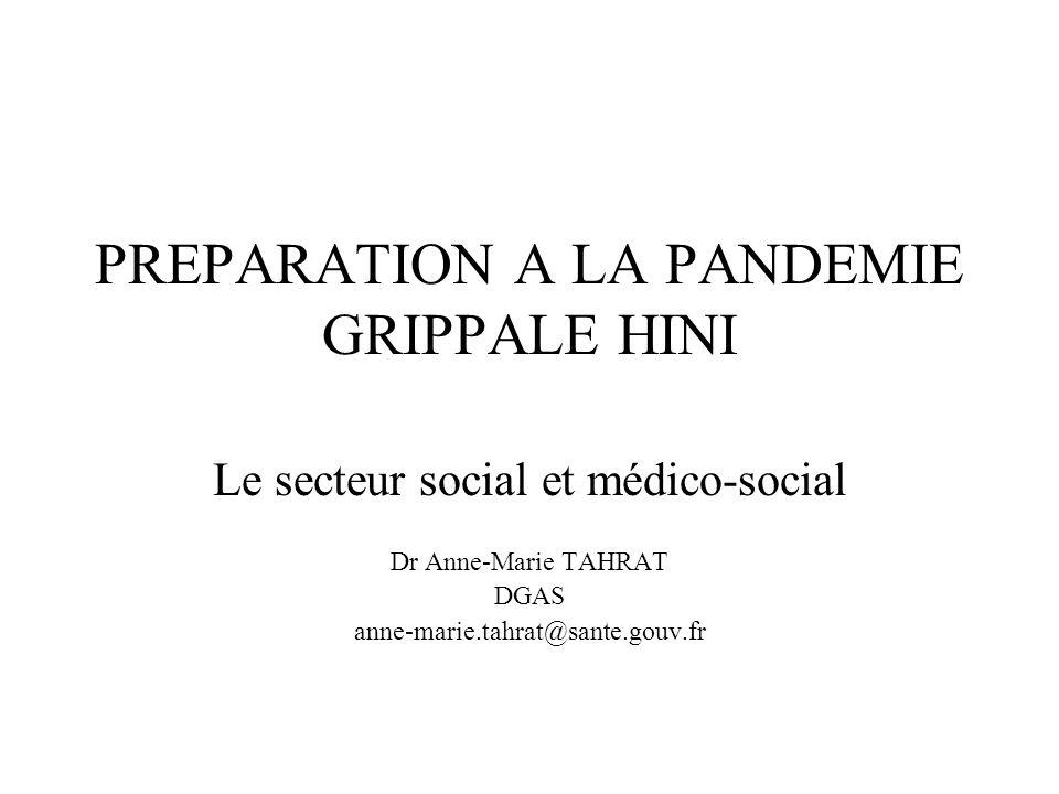 Les leçons de lhistoire les plus récentes 1918 – 1920 : Grippe espagnole A(H1N1) 40 à 50 millions de morts dont 120 000 morts en France Un milliard de malades Excès de mortalité USA : 529/100 000 pas de mesure de surveillance, pas de mesure de protection 1957 – 58 : Grippe asiatique A(H2N2) Excès de mortalité USA : 39/100 000 1968 – 69 : Grippe de Hong-Kong A(H3N2) 18 000 morts en France Excès de mortalité USA : 8/100 000 PANDEMIE = nouveau virus transmission interhumaine absence dimmunité