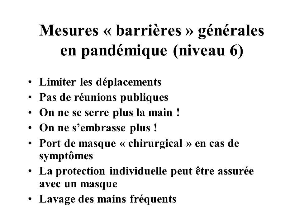 Mesures « barrières » générales en pandémique (niveau 6) Limiter les déplacements Pas de réunions publiques On ne se serre plus la main ! On ne sembra