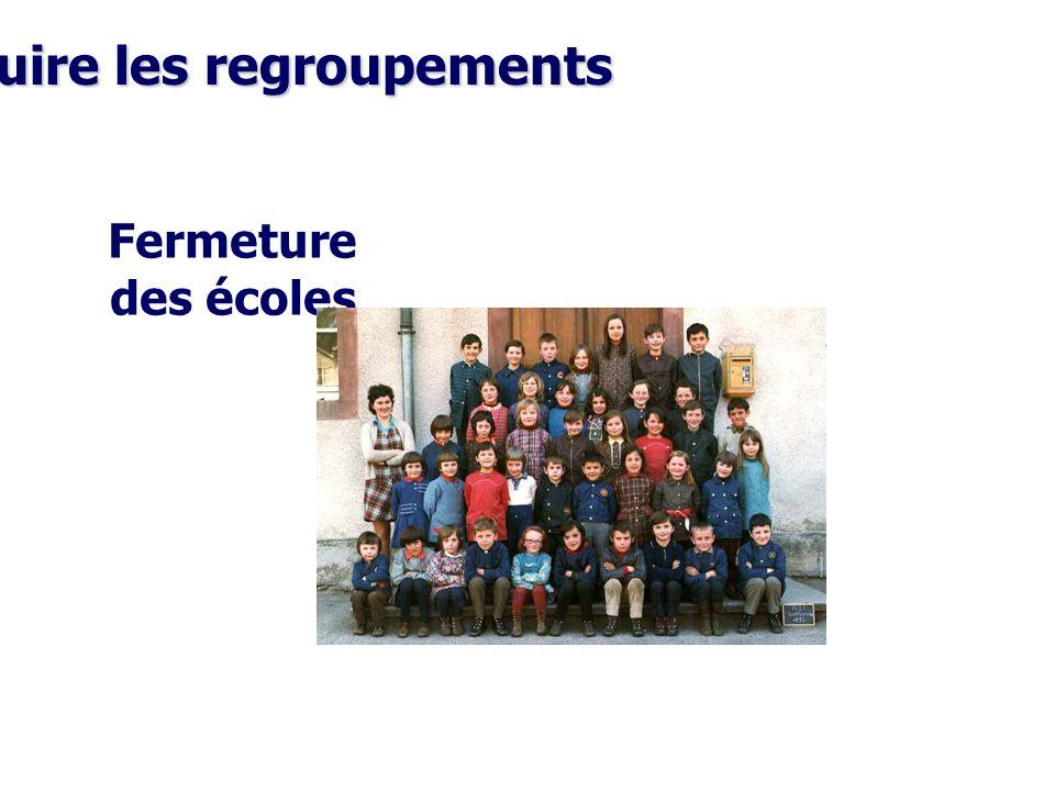 Réduire les regroupements Fermeture des écoles