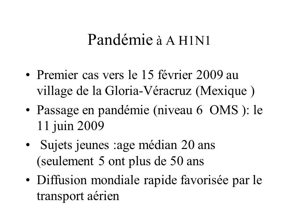 Pandémie à A H1N1 Premier cas vers le 15 février 2009 au village de la Gloria-Véracruz (Mexique ) Passage en pandémie (niveau 6 OMS ): le 11 juin 2009