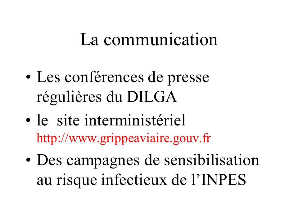 La communication Les conférences de presse régulières du DILGA le site interministériel http://www.grippeaviaire.gouv.fr Des campagnes de sensibilisat