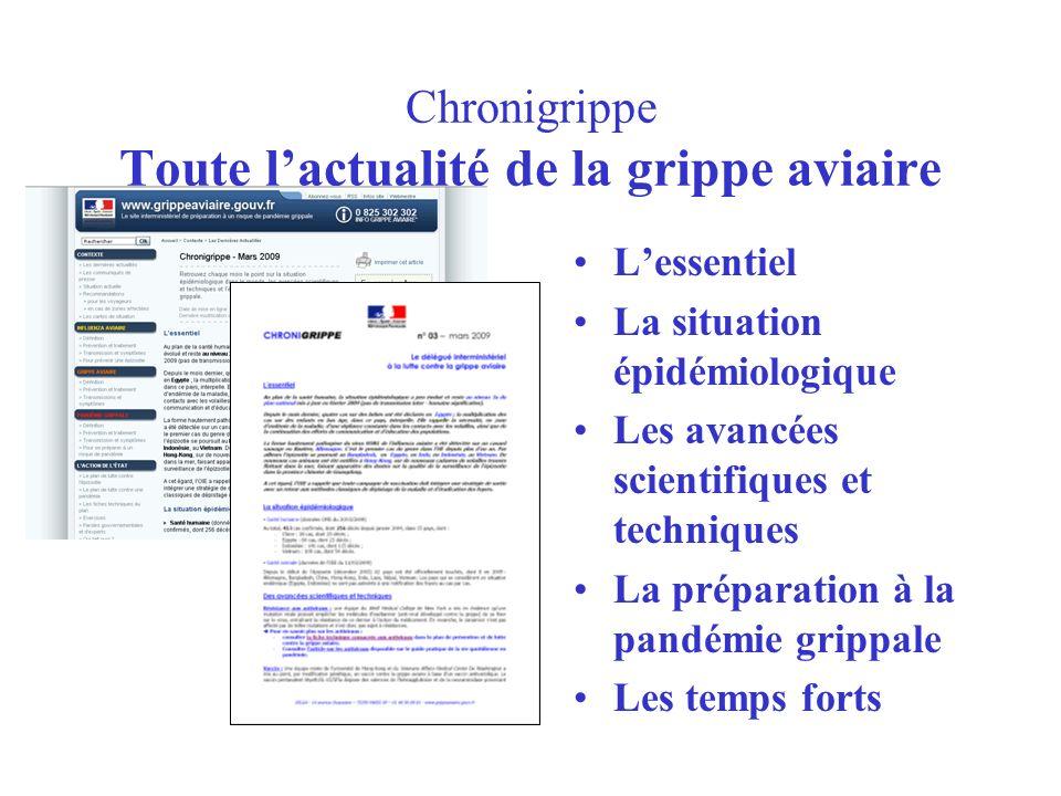 Chronigrippe Toute lactualité de la grippe aviaire Lessentiel La situation épidémiologique Les avancées scientifiques et techniques La préparation à l