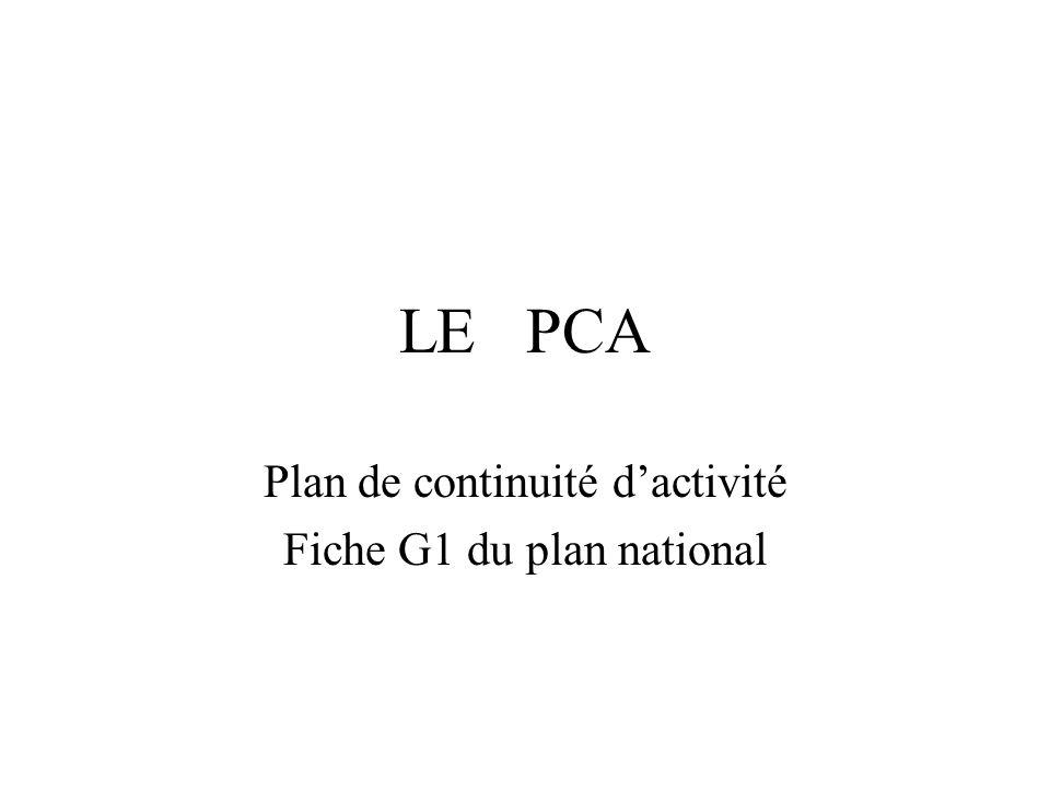 LE PCA Plan de continuité dactivité Fiche G1 du plan national