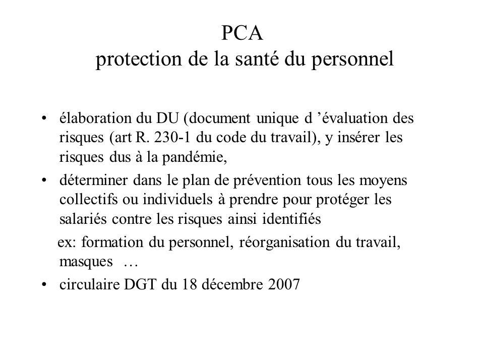 PCA protection de la santé du personnel élaboration du DU (document unique d évaluation des risques (art R. 230-1 du code du travail), y insérer les r