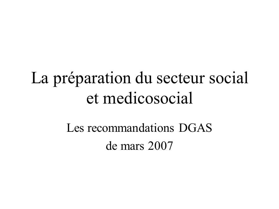 La préparation du secteur social et medicosocial Les recommandations DGAS de mars 2007
