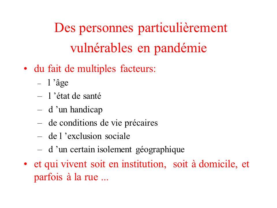 Des personnes particulièrement vulnérables en pandémie du fait de multiples facteurs: – l âge – l état de santé – d un handicap – de conditions de vie