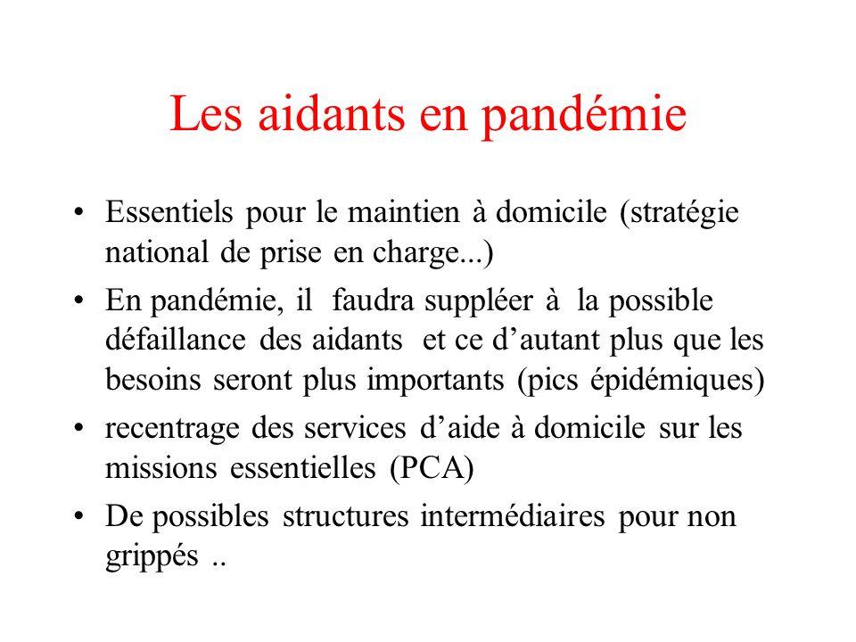 Les aidants en pandémie Essentiels pour le maintien à domicile (stratégie national de prise en charge...) En pandémie, il faudra suppléer à la possibl