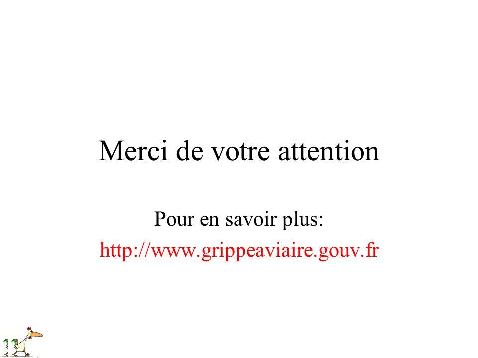 Merci de votre attention Pour en savoir plus: http://www.grippeaviaire.gouv.fr