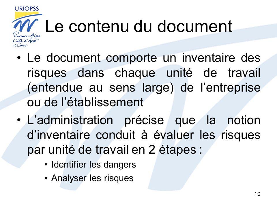 Le contenu du document Le document comporte un inventaire des risques dans chaque unité de travail (entendue au sens large) de lentreprise ou de létab
