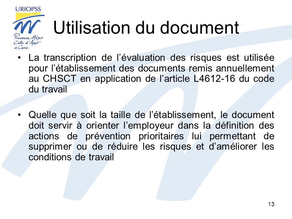 Utilisation du document La transcription de lévaluation des risques est utilisée pour létablissement des documents remis annuellement au CHSCT en appl