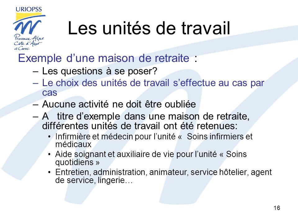 Les unités de travail Exemple dune maison de retraite : –Les questions à se poser? –Le choix des unités de travail seffectue au cas par cas –Aucune ac