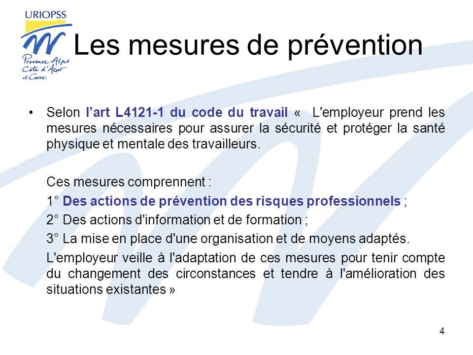Les mesures de prévention Selon lart L4121-1 du code du travail « L'employeur prend les mesures nécessaires pour assurer la sécurité et protéger la sa