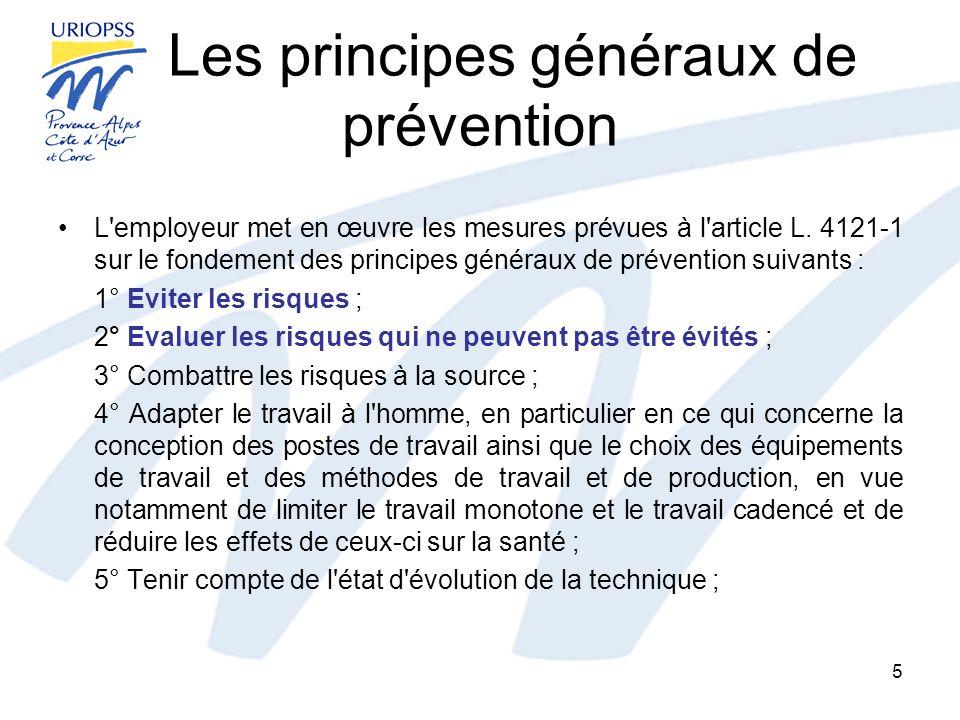 Les principes généraux de prévention L'employeur met en œuvre les mesures prévues à l'article L. 4121-1 sur le fondement des principes généraux de pré