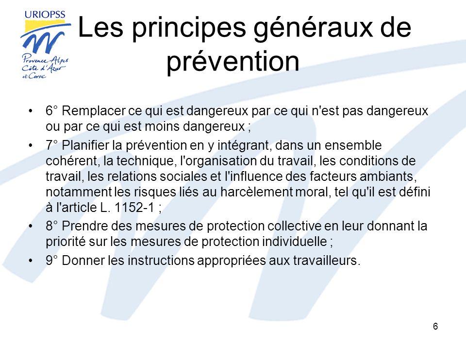 Les principes généraux de prévention 6° Remplacer ce qui est dangereux par ce qui n'est pas dangereux ou par ce qui est moins dangereux ; 7° Planifier