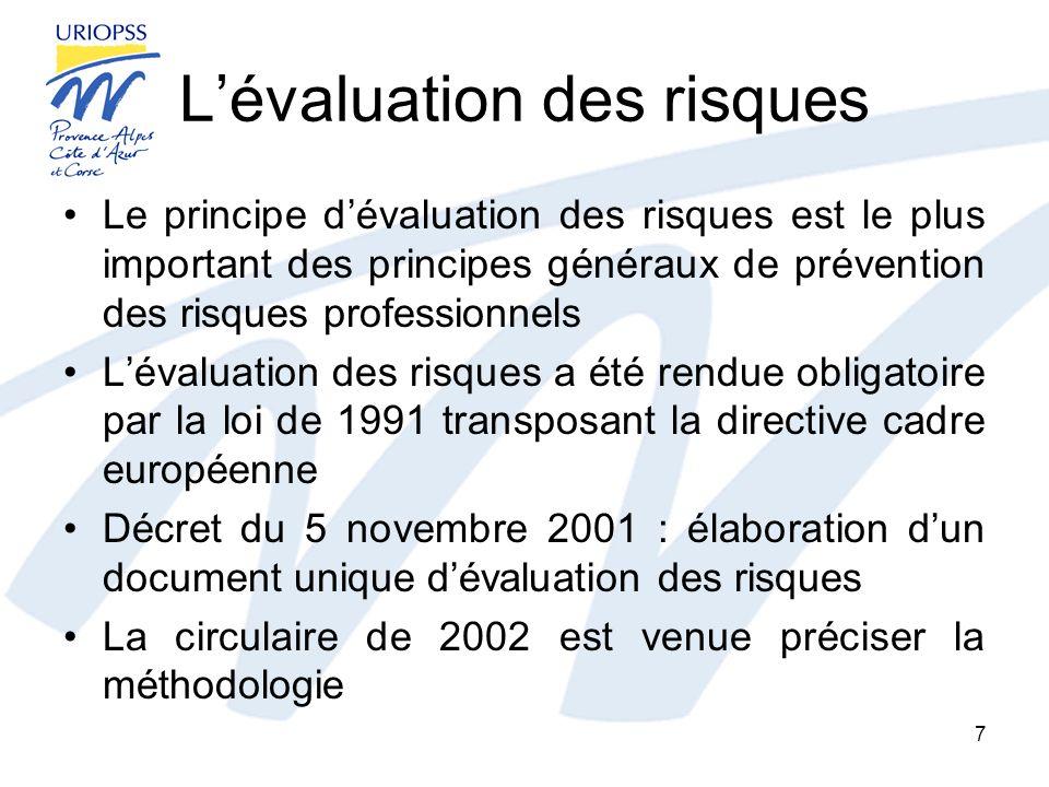 Lévaluation des risques Le principe dévaluation des risques est le plus important des principes généraux de prévention des risques professionnels Léva