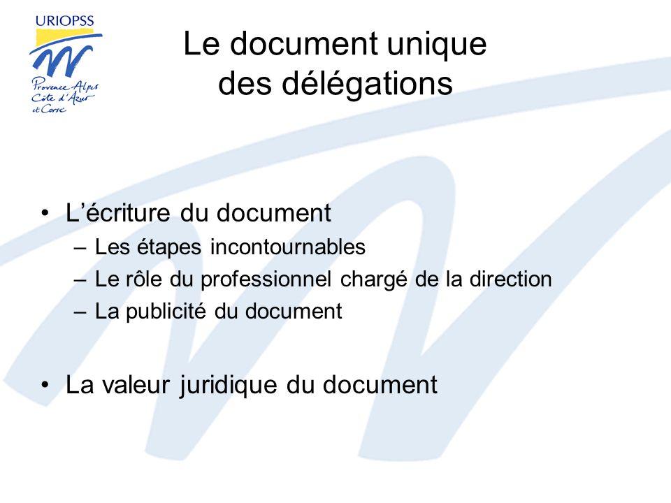 Le document unique des délégations Lécriture du document –Les étapes incontournables –Le rôle du professionnel chargé de la direction –La publicité du