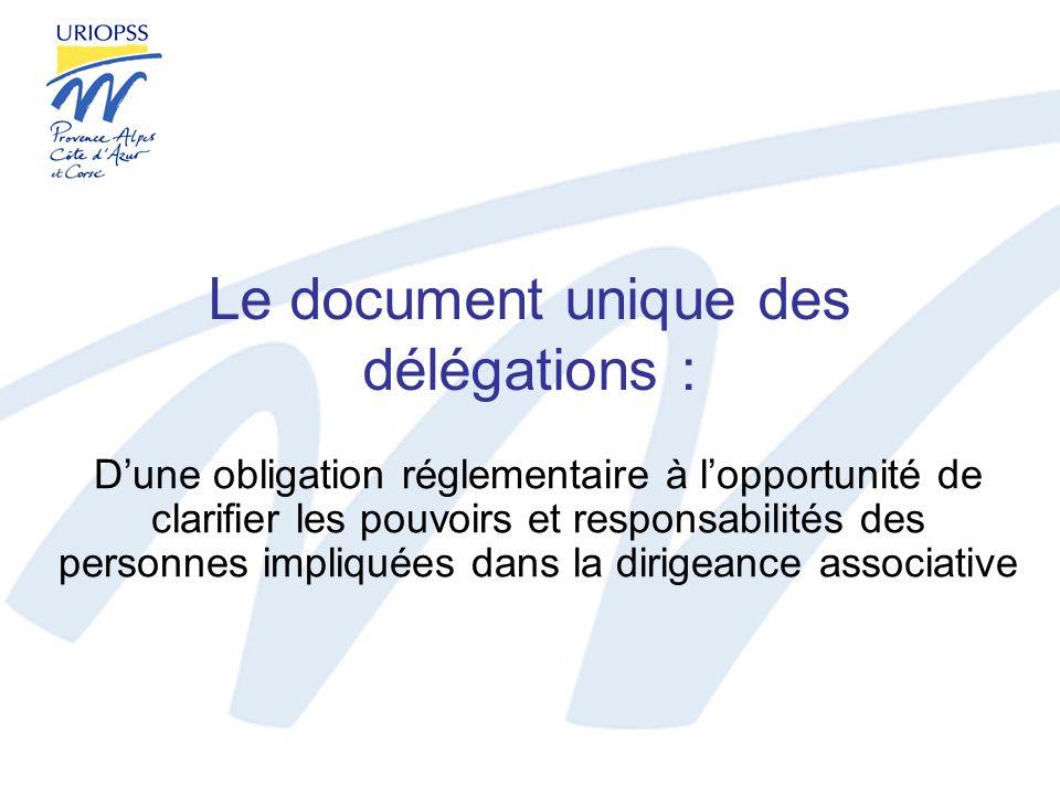 Le document unique des délégations : Dune obligation réglementaire à lopportunité de clarifier les pouvoirs et responsabilités des personnes impliquée