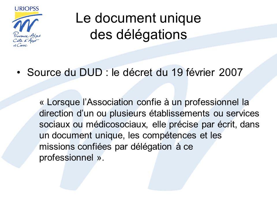 Le document unique des délégations Source du DUD : le décret du 19 février 2007 « Lorsque lAssociation confie à un professionnel la direction dun ou p