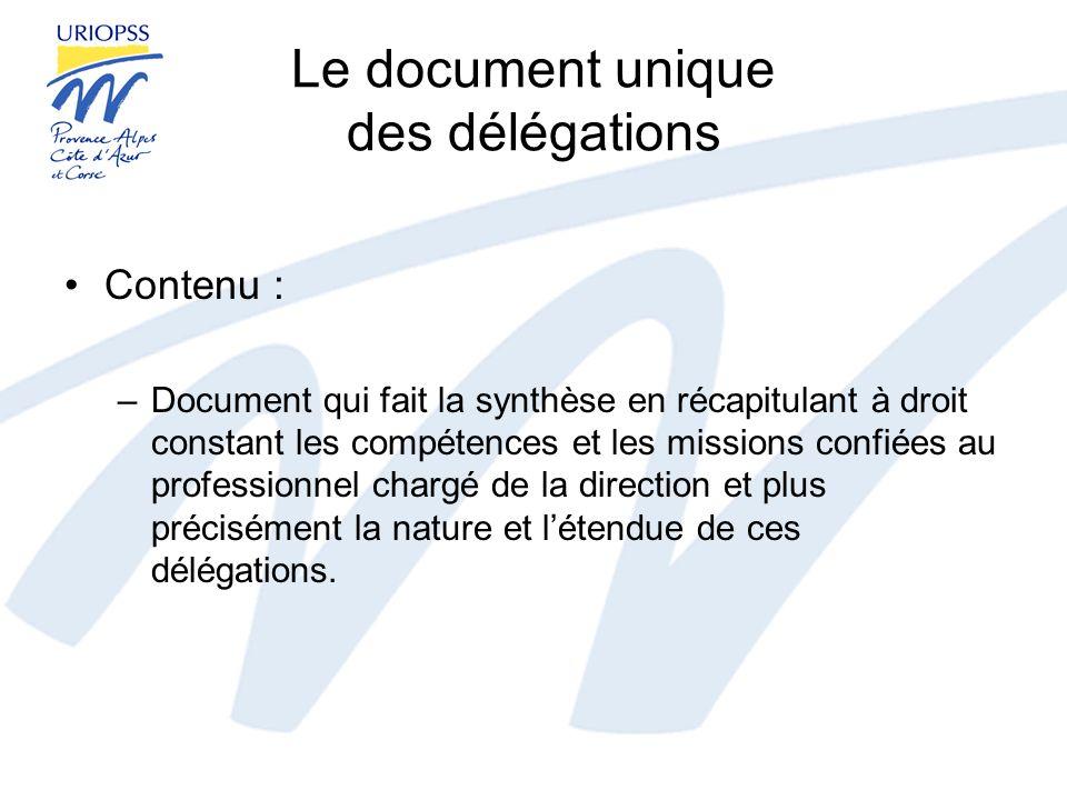 Le document unique des délégations Intérêt de ce décret : –Opportunité offerte aux associations de clarifier leurs relations avec leurs dirigeants professionnels.