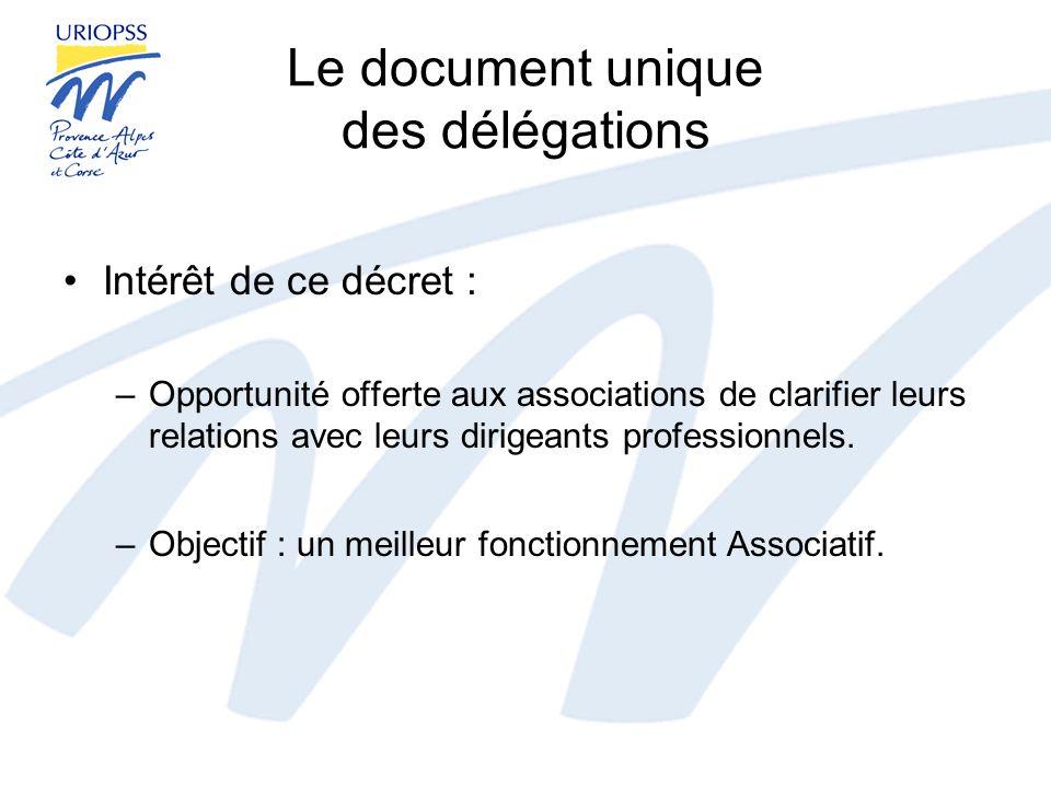 Le document unique des délégations Intérêt de ce décret : –Opportunité offerte aux associations de clarifier leurs relations avec leurs dirigeants pro