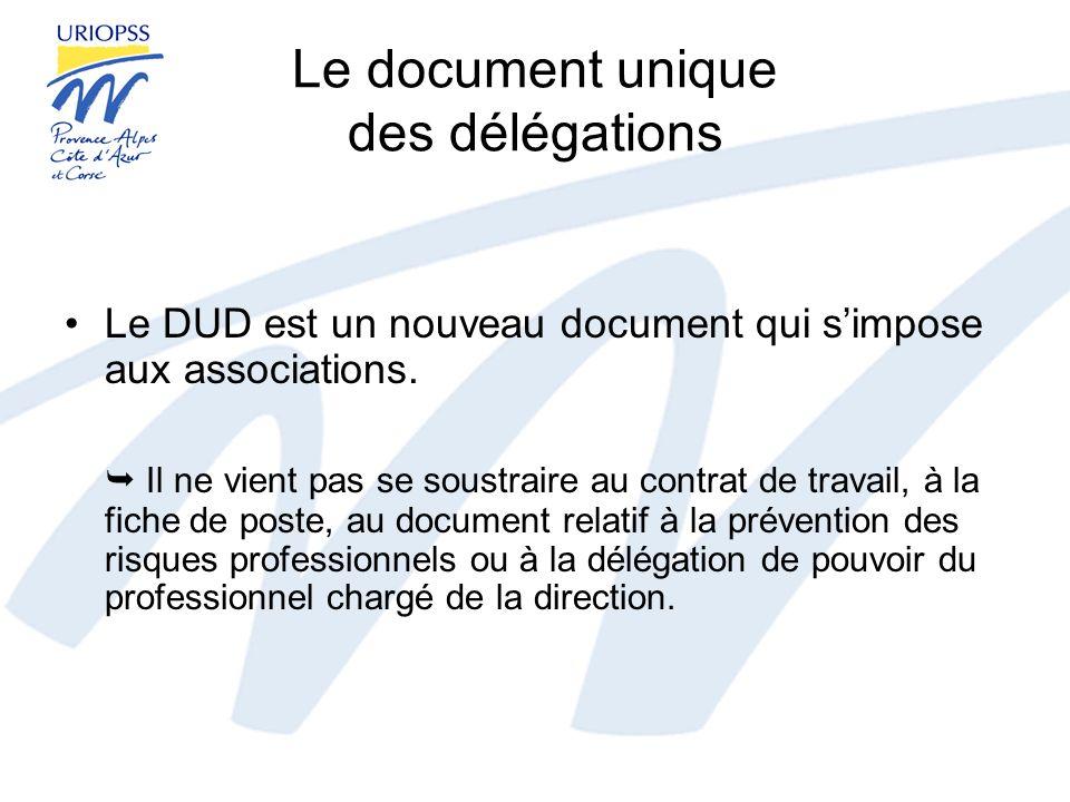 Le document unique des délégations Le DUD est un nouveau document qui simpose aux associations. Il ne vient pas se soustraire au contrat de travail, à