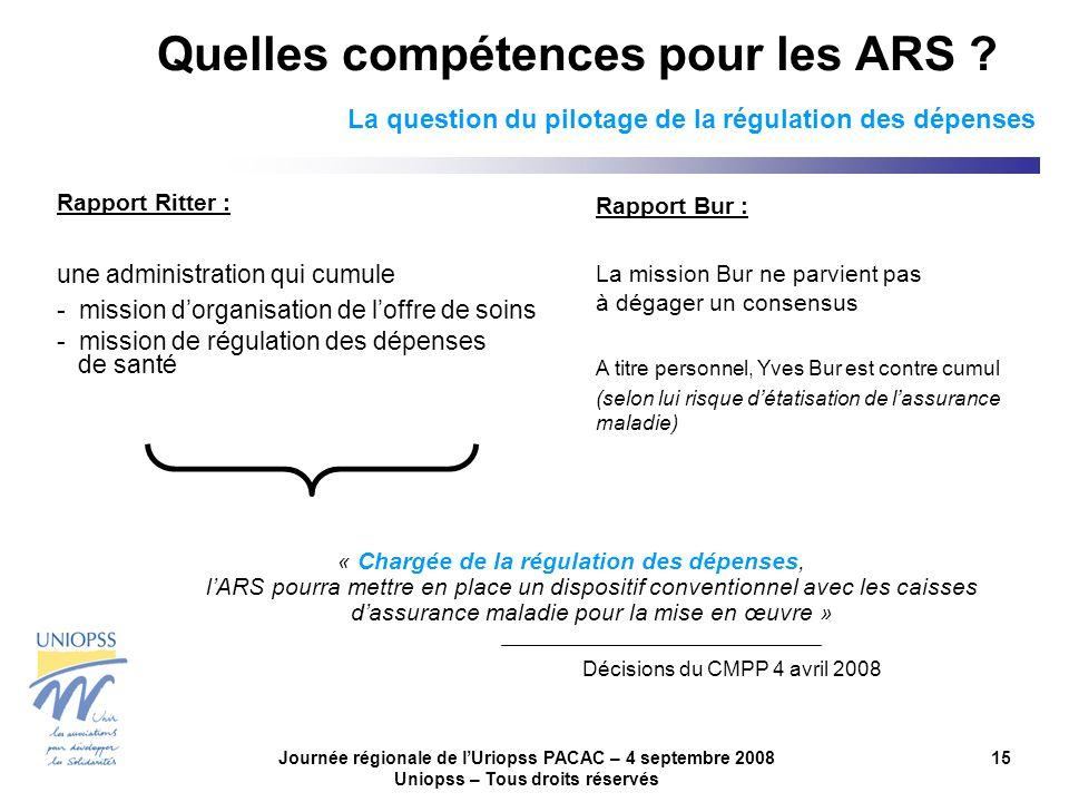 Journée régionale de lUriopss PACAC – 4 septembre 2008 Uniopss – Tous droits réservés 15 Quelles compétences pour les ARS ? La question du pilotage de