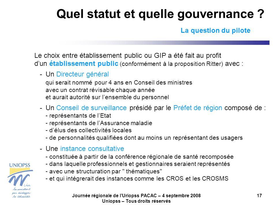 Journée régionale de lUriopss PACAC – 4 septembre 2008 Uniopss – Tous droits réservés 17 Quel statut et quelle gouvernance ? La question du pilote Le