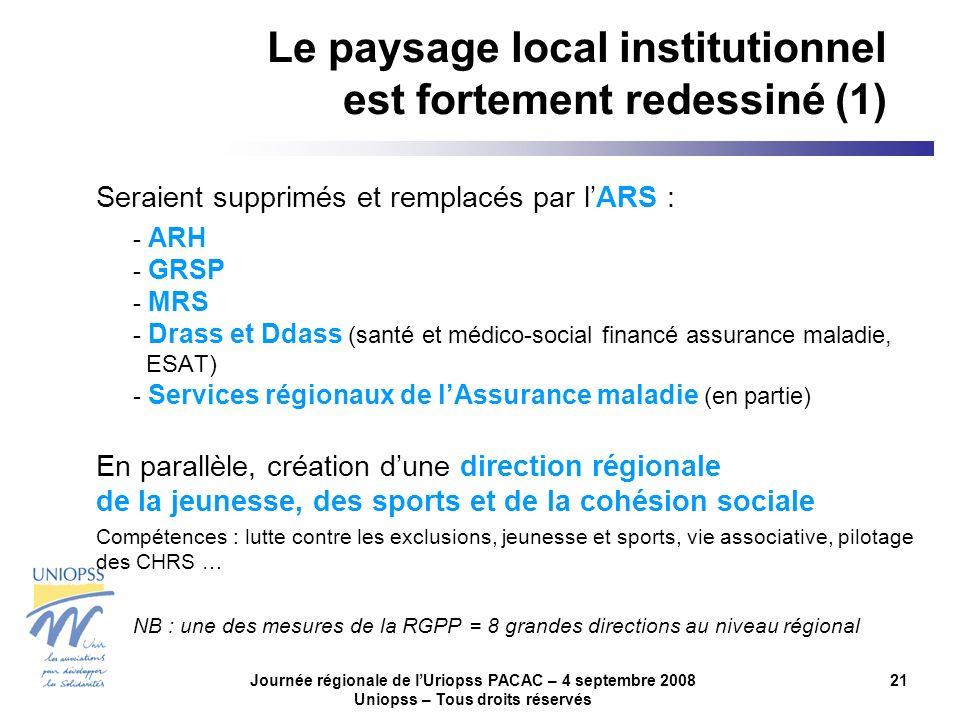 Journée régionale de lUriopss PACAC – 4 septembre 2008 Uniopss – Tous droits réservés 21 Le paysage local institutionnel est fortement redessiné (1) Seraient supprimés et remplacés par lARS : - ARH - GRSP - MRS - Drass et Ddass (santé et médico-social financé assurance maladie, ESAT) - Services régionaux de lAssurance maladie (en partie) En parallèle, création dune direction régionale de la jeunesse, des sports et de la cohésion sociale Compétences : lutte contre les exclusions, jeunesse et sports, vie associative, pilotage des CHRS … NB : une des mesures de la RGPP = 8 grandes directions au niveau régional